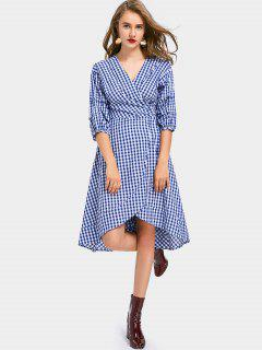 V Neck Asymmetric Checked Wrap Dress - Checked