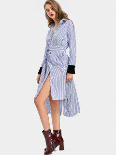 Velvet Panel Side Slit Striped Belted Dress - Stripe