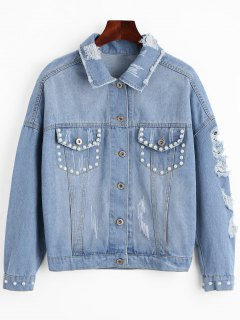 Beading Flower Applique Ripped Denim Jacket - Light Blue S