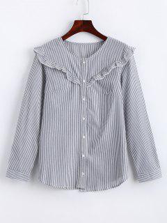 Knopf Oben Rüsche-Streifen-Hemd - Streifen  M