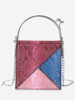 Geometric Snake Embossed Crossbody Bag - Red