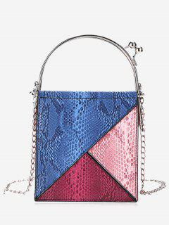 Geometric Snake Embossed Crossbody Bag - Blue