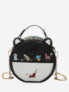 Chain Strap Cartoon Embroidered Crossbody Bag - Black