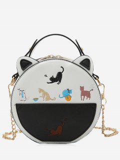 Chain Strap Cartoon Embroidered Crossbody Bag - White