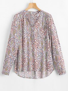 High Low Tiny Floral Blouse - Floral Xl