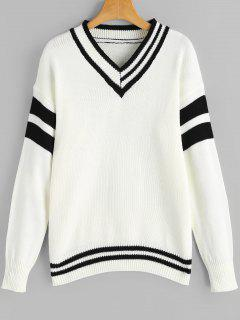Kontrastierende V-Ausschnitt Pullover Pullover - Weiß