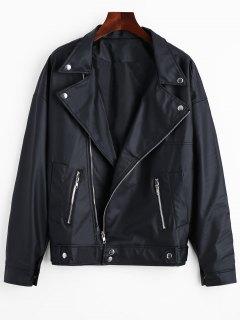 Asymmetric Zipper PU Jacket With Pockets - Black 2xl