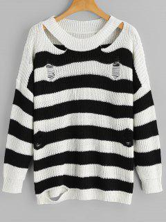 Cut Out Stripes Sweater - Rayure