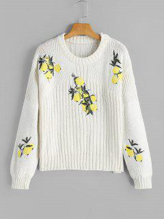 Loose Lemon Embroidered Pullover Sweater - White