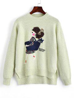Heathered Cartoon Patched High Low Sweater - Light Green