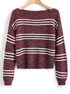 Long Sleeve Stripes Pullover Sweater - Wine Red