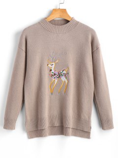 High Low Fawn Embroidered Sweater - Khaki
