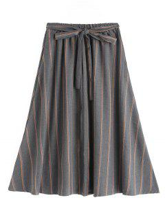Self Tie Bowknot Striped Flare Skirt - Gray