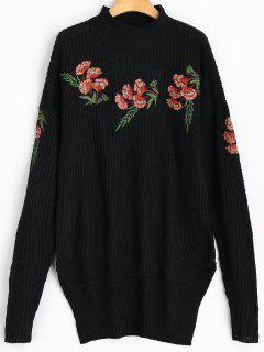 Floral Embroidered High Low Chunky Sweater - Black
