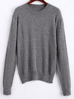 Stretchy Frayed Pullover Sweater - Gray S