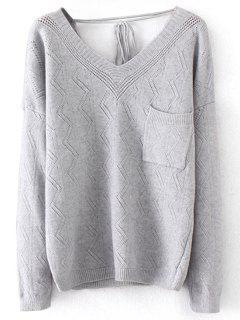 Sheer Pullover V-Ausschnitt Pullover - Grau