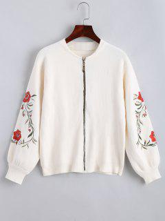 Floral Embroidered Zip Up Cardigan - White
