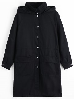 Snap Button Hooded Coat With Pockets - Black L