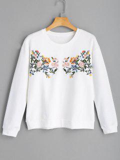 Beiläufiges Blumen-gesticktes Sweatshirt - Weiß