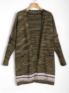 Jacquard Open Front Cardigan - Army Green