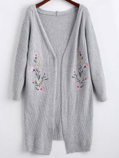 Long Floral Embroidered Open Front Cardigan - Gray