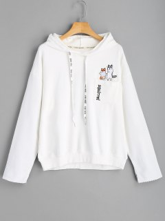 Pocket Squirrel Embroidered Hoodie - White