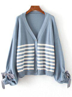 Bow Tied Button Up Stripes Cardigan - Light Blue