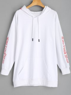 Longline Embroidered Tunic Hoodie - White