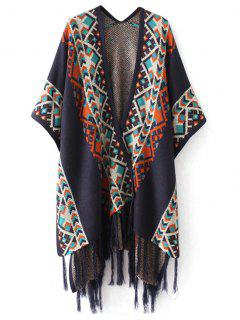 Jacquard Tassels Cape Cardigan - Purplish Blue