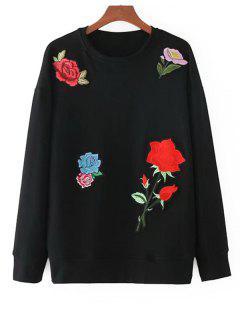 Camiseta Floral De Túnica De Apliques - Negro S