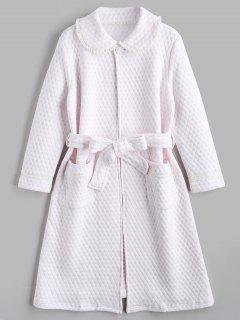 Vestido De Noche Con Textura De Flocking Heart Night Robe - Rosa Claro M