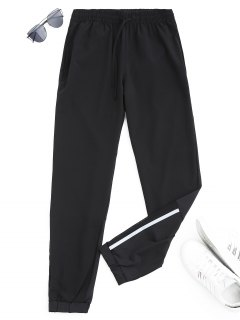 Drawstring Taper Sports Pants - Black M