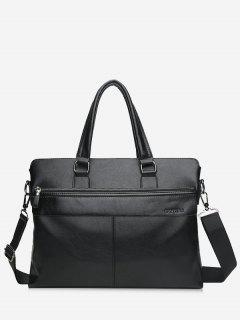 Compartment Faux Leather Business Briefcase - Black