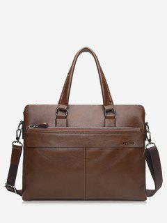 Compartment Faux Leather Business Briefcase - Khaki