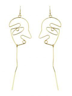 Face Shape Bar Pendant Earrings - Golden