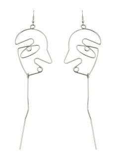 Face Shape Bar Pendant Earrings - Silver