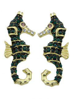 Sea Horse Shape Stud Earrings - Golden
