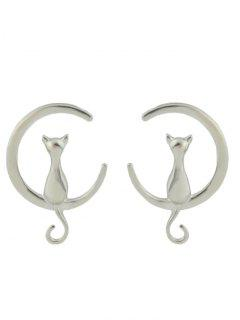 Cat Moon Shape Stud Earrings - Silver