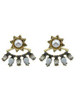 Flory Faux Pearl Waterdrop Earrings - Golden