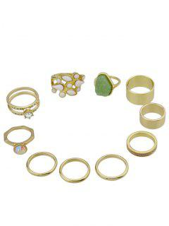 10 Pcs Alloy Circle Artificial Gem Finger Ring Set - Golden