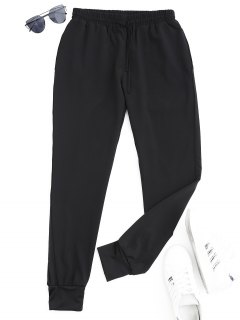 Drawstring Sports Jogger Pants - Black M