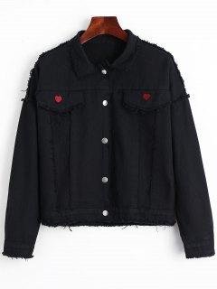 Faux Pockets Heart Frayed Hem Denim Jacket - Black Xl