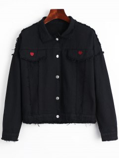 Faux Pockets Heart Frayed Hem Denim Jacket - Black L
