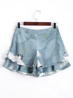 Layered Ruffles Crane High Waisted Shorts - Floral S