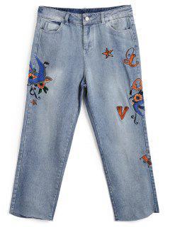 Bleach Wash Embroidered Capri Jeans - Denim Blue S