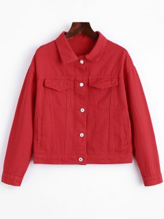 Button Up Pockets Lettre Denim Jacket - Rouge S