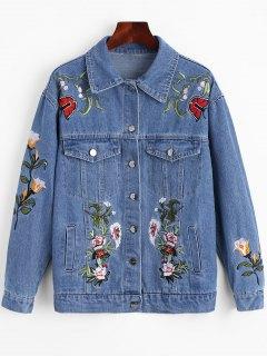 Floral Patched Pockets Denim Jacket - Blue Xl