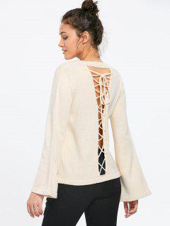 Flare Sleeve Lace Up Sweater - Apricot 2xl