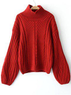Lantern Sleeve Pullover High Neck Sweater - Red