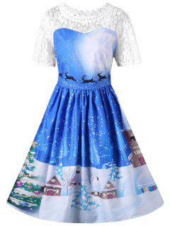 Christmas Lace Yoke Swing Dress - Blue M